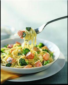 Spaghettis au saumon frais et brocolis