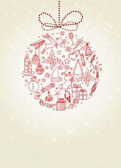 Seasonal Symbols - Free Printable Christmas Invitation Template | Greetings Island