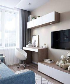 Bedroom Girls Design Desks 59 Ideas For 2019 Living Room Tv, Interior Design Living Room, Living Room Designs, Tv In Bedroom, Trendy Bedroom, Bedroom Girls, Bedroom Furniture, Furniture Sets, Modern Bedroom Design