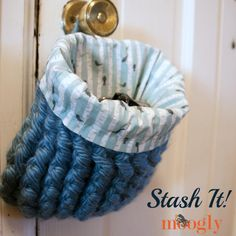 Stash It! One skein crochet basket pattern with fabric liner - FREE on Moogly!