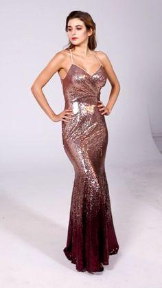 Silhouette: Mermaid/Trumpet Neckline: V-neck Waist: Natural Hemline/Train: Floor-Length Sleeve Length: Sleeveless Embellishments: No Back Details: Zipper Fully Lined: Yes Built-In Bra: Yes Boning: Yes Fabric: Sequin Sequin Bridesmaid Dresses, Mermaid Prom Dresses, Satin Dresses, Formal Dresses, Sparkly Dresses, Formal Wear, Floor Length Gown, Sequin Gown, Metallic Dress