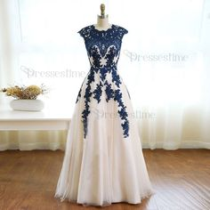 Fashion A-line Ivory Prom Dress - Scalloped Cap Sleeves Floor Length Appliques