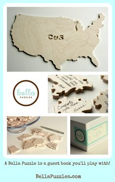 Wood puzzle #guestbooks can be shaped and personalized. Lots of fun for you and your #wedding guests.