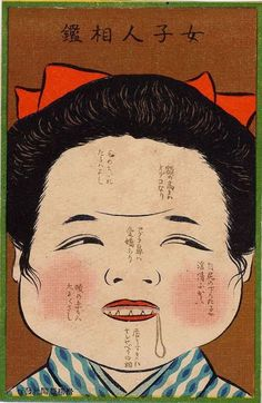 "A Woman's Facial Features (Minoue handan) from Ehagaki sekai  絵葉書世界より 身ノ上判断 絵師不明 1907年  ""女子人相鑑 毛のちゞれたるハよし 額の高きハオデコなり 目尻の下りたるハ淫情ふかし アグラ鼻ハ愛嬌あり 頬の赤きハ大にくさし 唇うすきハオシヤベリの相"""