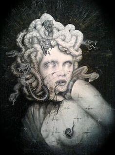 Medusa by Dan Quintana Snake Art, Medusa Artwork, Surreal Art, Fantasy Art, Greek Monsters, Creature Art, Art Girl, Art, Dark Art