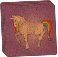 """Custom & Cool {4"""" Inches} Set Pack of 4 Square """"Grip Texture"""" Drink Cup Coaster Made of Cork w/ Cork Bottom & Magical Fairy Tale Creatures Rainbow Mane Unicorn Design [Purple, Red, Blue & Green]"""