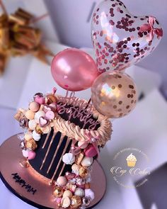 Ballon-Kuchen - New Sites Creative Birthday Cakes, Cute Birthday Cakes, Beautiful Birthday Cakes, 18th Birthday Cake, Beautiful Cakes, Disney Birthday, Card Birthday, Birthday Gifts, 21st Bday Ideas