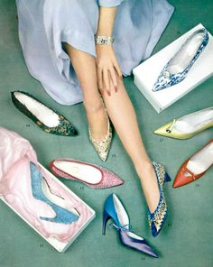Evening shoes: Nos.16 & 17 by Charles Jourdan; 11,13,14,15 & 18 by Roger Vivier for Christian Dior; 10 & 12 by Durer, photo by Philippe Pottier, 1959;