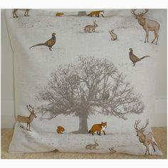 "20"" Cushion Cover Fox Squirrel Stag Pheasant Owl Rabbit Tree Taupe Woodland Foxe   eBay"