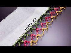 My own design oyam Crochet Borders, Crochet Stitches Patterns, Filet Crochet, Stitch Patterns, Knit Crochet, Embroidered Clothes, Knitting Socks, Embroidery Thread, Tatting