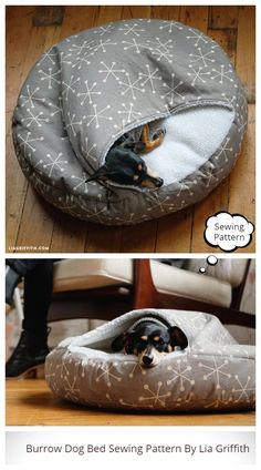 DIY Burrow Bed for Dogs Sewing Pattern & Tutorial . - DIY Burrow Bed for Dogs Sewing Pattern & Tutorial Diy Dog Bed, Diy Bed, Pet Beds Diy, Pet Beds For Dogs, Doggie Beds, Dog Clothes Patterns, Dog Coats, Diy Stuffed Animals, Dog Supplies