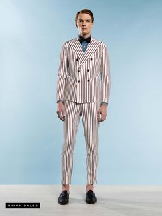 #BRIANDALES #MAN #COLLECTION #SS2016, pinstripe suit with double-breasted, denim shirt and bow tie.