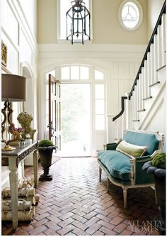 Inlayed brick floor!  Foyer & Entry Design Amy Vermillion Interiors Charlotte NC