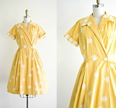 1950s cotton sun dress . vintage 50s yellow wrap day dress . summer retro pinup by Pastimer by Modern . small medium by VelvetPinVintage on Etsy