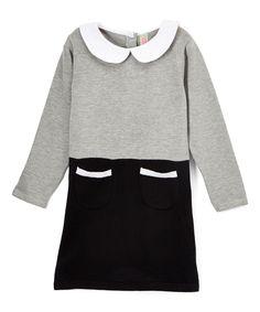 Gray & Black Color Block A-Line Dress - Infant, Toddler & Girls