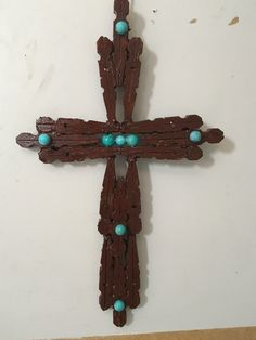 X Dark brown with turquoise Cross. Clothespin Cross, Wooden Clothespin Crafts, Wooden Clothespins, Clothes Pin Ornaments, Clothes Pin Wreath, Catholic Crafts, Church Crafts, Wooden Crosses, Wall Crosses