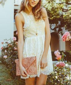 Yellow & White Lace Fringe Sleeveless Dress