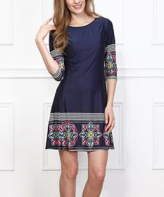 Look what I found on #zulily! Navy & Red Tile Shift Dress #zulilyfinds