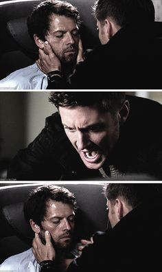 """[SET OF GIFS] """"Cas!  No, Cas.""""  9x03 I'm No Angel.....if you ever had to wonder if Dean truly feels like. Cas is family. Here it is. Tears were forming."""