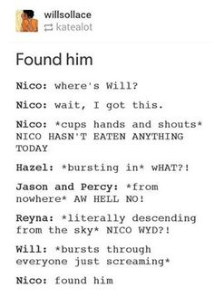 LISTEN PERCY BEING O THE NICO SUPPORT SQUAD GIVES ME LIFE