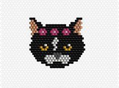 Brick Stitch chat fleur modèle tuto patern logiciel EasyBeadPatterns