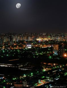 The skyline of Brooklin Novo and Moema districts  under a full moon