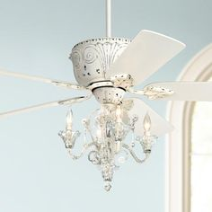 Shop the latest collection of 52 Casa Deville Vintage Chic Ceiling Fan Light LED Crystal Chandelier Rubbed White Living Room Kitchen Bedroom Family Dining - Casa Vieja from the most popular stores - all in one place. Similar products are available. Ceiling Fan Chandelier, White Ceiling Fan, Led Ceiling, Chandeliers, Bedroom Ceiling, Bedroom Lighting, Dining Room Ceiling Fan, Cottage Lighting, White Chandelier