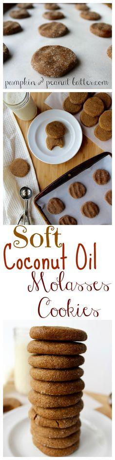 Soft Coconut Oil Molasses Cookies // pumpkin & peanut butter