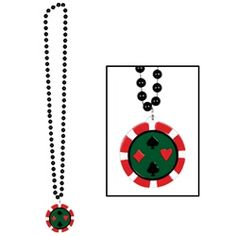 Having a casino party? Hand out these Black Beads with Poker Chip Medallion to all of your poker party guests for an easy party favor. Each life-like poker chip medallion comes on a black strand of beads to wear and share.