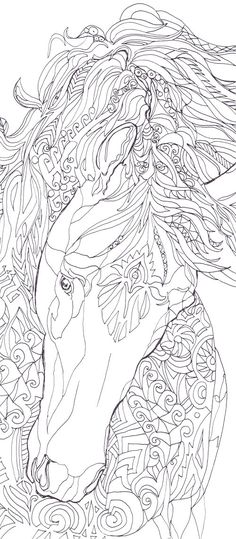 Coloring pages Horse Printable Adult Coloring book by ValrArt More