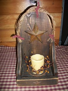 PRIMITIVE BARN WOOD BARN STAR CANDLE BOX/Country/Rustic/Distressed #NaivePrimitive
