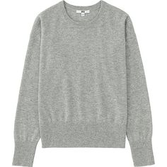 Women's Cashmere Crew Neck Sweater, LIGHT GRAY