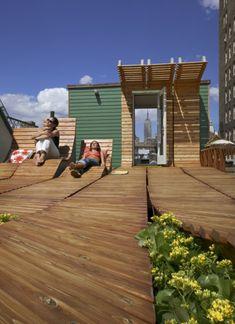 wooden roofgarden in Greenwich Village.