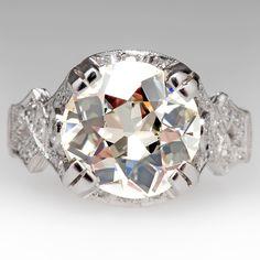 3.63 Carat Old Euro Diamond Antique 1930's Ring