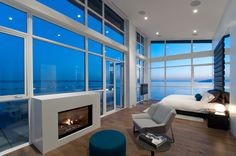 Incredible master bedroom with a view from a West Vancouver penthouse #blurrdMEDIA #architecture #photography