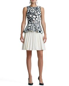 Hand-Crocheted Floral Peplum Blouse & Pleated Stretch-Wool A-Line Skirt by Oscar de la Renta at Bergdorf Goodman.