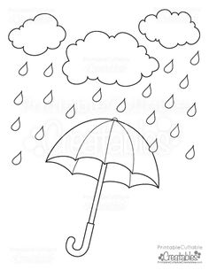 Best 10 Rainy Day Umbrella Free Printable Coloring Page Art Drawings For Kids, Drawing For Kids, Art For Kids, Crafts For Kids, Free Printable Coloring Pages, Coloring Pages For Kids, Coloring Books, Autumn Crafts, Spring Crafts