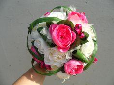 """Bouquet de mariée rond fuschia ivoire - """"Pauline"""" Ivoire, Marie, Bouquets, Etsy, Flowers, Plants, Wedding, Wedding Bouquet, Wedding Ideas"""