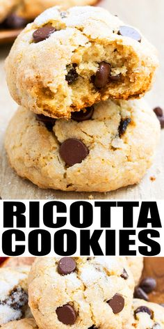 RICOTTA COOKIES RECIPE- Quick and easy Italian ricotta cheese cookies, homemade with simple ingredients. Great for Christmas cookie exchange, dessert or snack! They are soft and moist on the inside but crispy on the outside! Loaded with chocolate chips. Can also just top with sugar icing/ glaze or mix in lemon zest, orange zest or pistachios, almond. From CakeWhiz.com #cookies #ricotta #chocolate #dessert Easy No Bake Desserts, Easy Cookie Recipes, Baking Recipes, Vegan Recipes, Ricotta Cheese Cookies, Chocolate Chips, Chocolate Chip Cookies, Roast Recipe Easy, Yummy Cookies