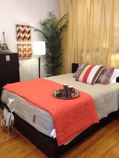 Coral in Stonesthrow Bedroom Bedrooms, Coral, Table, Furniture, Home Decor, Interior Design, Bedroom, Home Interior Design, Desk