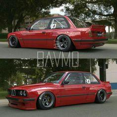 BMW E30 M3 red slammed