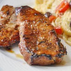 Honey Ginger Dijon Glazed Pork Chops - Rock Recipes -The Best Food & Photos from my St. Pork Chop Recipes, Meat Recipes, Vegetarian Recipes, Cooking Recipes, Healthy Recipes, Cooking Pork, Honey Garlic Pork Chops, Glazed Pork Chops, Pork Loin