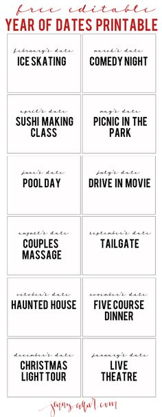 Two years ago for Valentine's Day I gifted my husband a year of dates. We are, once again, stuck in a rut of dinner dates and are in need of a bit of adventure when it comes to spending time together. So, I created this year of dates printable that I thought some of you could use as well. I…