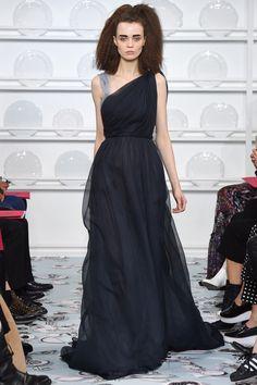 Schiaparelli | Spring 2016 Couture | 41 Navy maxi dress with asymmetrical shoulders