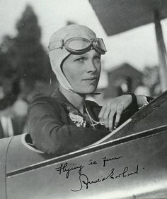 Amelia Mary Earhart (1897-1937) was the first woman to receive the U.S. Distinguished Flying Cross, awarded for becoming the first aviatrix to fly solo across the Atlantic Ocean.