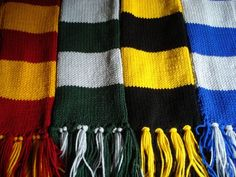 "harry potter house scarf colors -  use infinity scarf pattern for ""inspired by"" scarves."