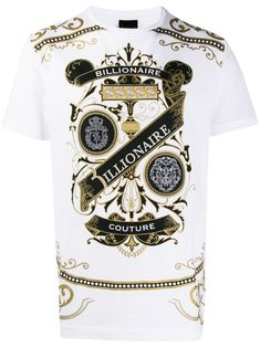 Billionaire logo print T-shirt - White Versace, Cotton Logo, New Sign, Billionaire, Branded T Shirts, Brand You, Size Clothing, Women Wear, Mens Fashion