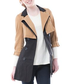 Look at this #zulilyfind! Beige Color Block Trench Coat & Pin by Deep or Shallow #zulilyfinds