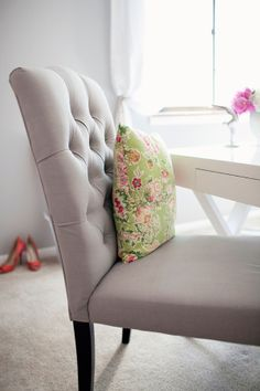 beautiful office chair Tufted Dining Chairs, Dining Table, World Market Dining Chairs, Rocking Chair Cushions, Girl Cave, Office Makeover, Planner, Apartment Living, Living Room