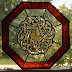 Leadlight | Celtic Knot Cross Family Name and Scottish Thistle - Stained Glass ...